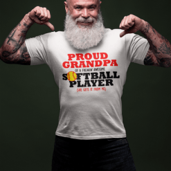 Proud Grandpa Softball Player Sports T-Shirt Design