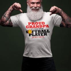 Proud Grandpa Softball Player Sports T-Shirt Design