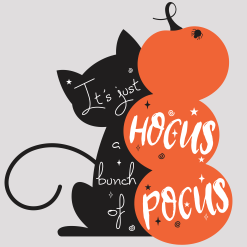 Halloween Cat T-Shirt Design with Pumpkins Spider and Hocus Pocus