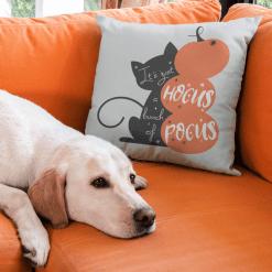 Halloween Cat Pumpkins Spider Hocus Pocus Magic vector graphic logo design for pillow or sign