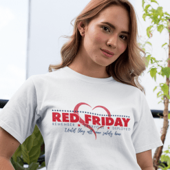 RED Friday Shirts Military Remember Everyone Deployed Heart vector t-shirt print design white