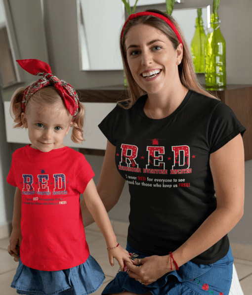 RED Friday Military Remember Everyone Deployed vector screen print t shirt design black and toddler