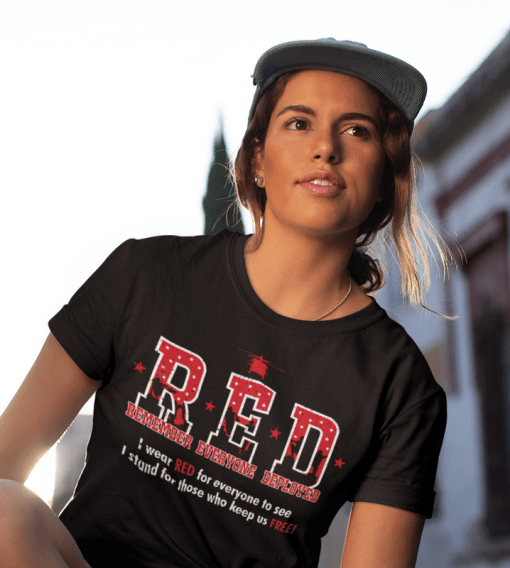 RED Friday Military Remember Everyone Deployed vector t-shirt print design black_close up