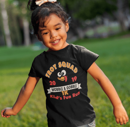 Kids Turkey Trot T-Shirt Template Turkey Trot Squad 1K Kids Thanksgiving Turkey Trot Race T-Shirt Print Design