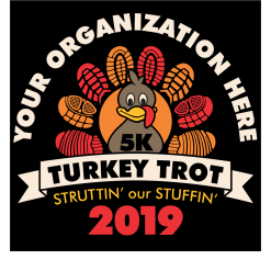 Turkey Trot Thanksgiving 5K Race Design T Shirt Vector Template Free