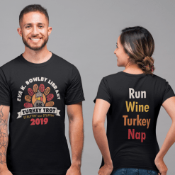 Turkey Trot 5K Thanksgiving Race T-Shirt Print Design Template Run Wine Turkey Nap Back Design