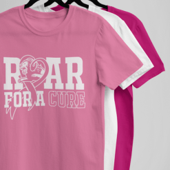 Breast Cancer Awareness T-Shirt Design Roar For A Cure vector t-shirt graphic logo short sleeve tees