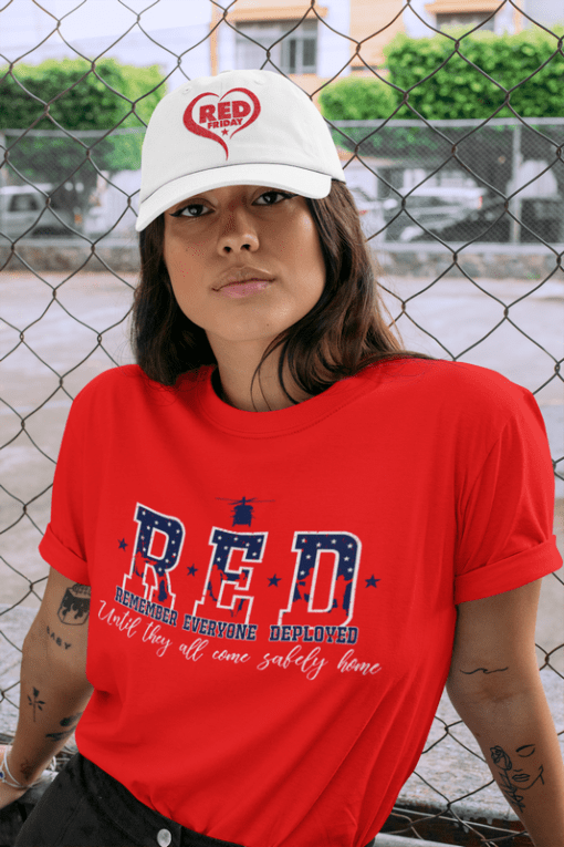 RED Friday Military Remember Everyone Deployed red white and blue vector t-shirt print logo design and hat design