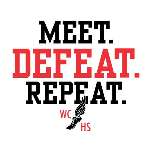 Track Meet T Shirt Design Template - Track & Field Meet Defeat Repeat Custom Design