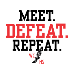 Track Meet T Shirt Design Template - Track & Field Meet Defeat Repeat Custom Design