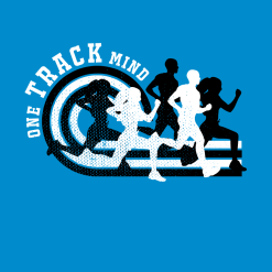 Track & Field T-Shirt Designs - One Track Mind ready made distressed t-shirt print design for track and field shirt designs
