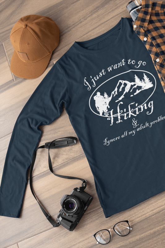 T Shirt Designs Online   Hiking Shirts - Go Hiking & Ignore My Adult Problems Hiking T-Shirts Designs