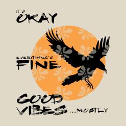 Good Vibes T Shirt SVG Design - Halloween Raven T Shirt Design - Ready-to-Print or Cut Crow SVG Design