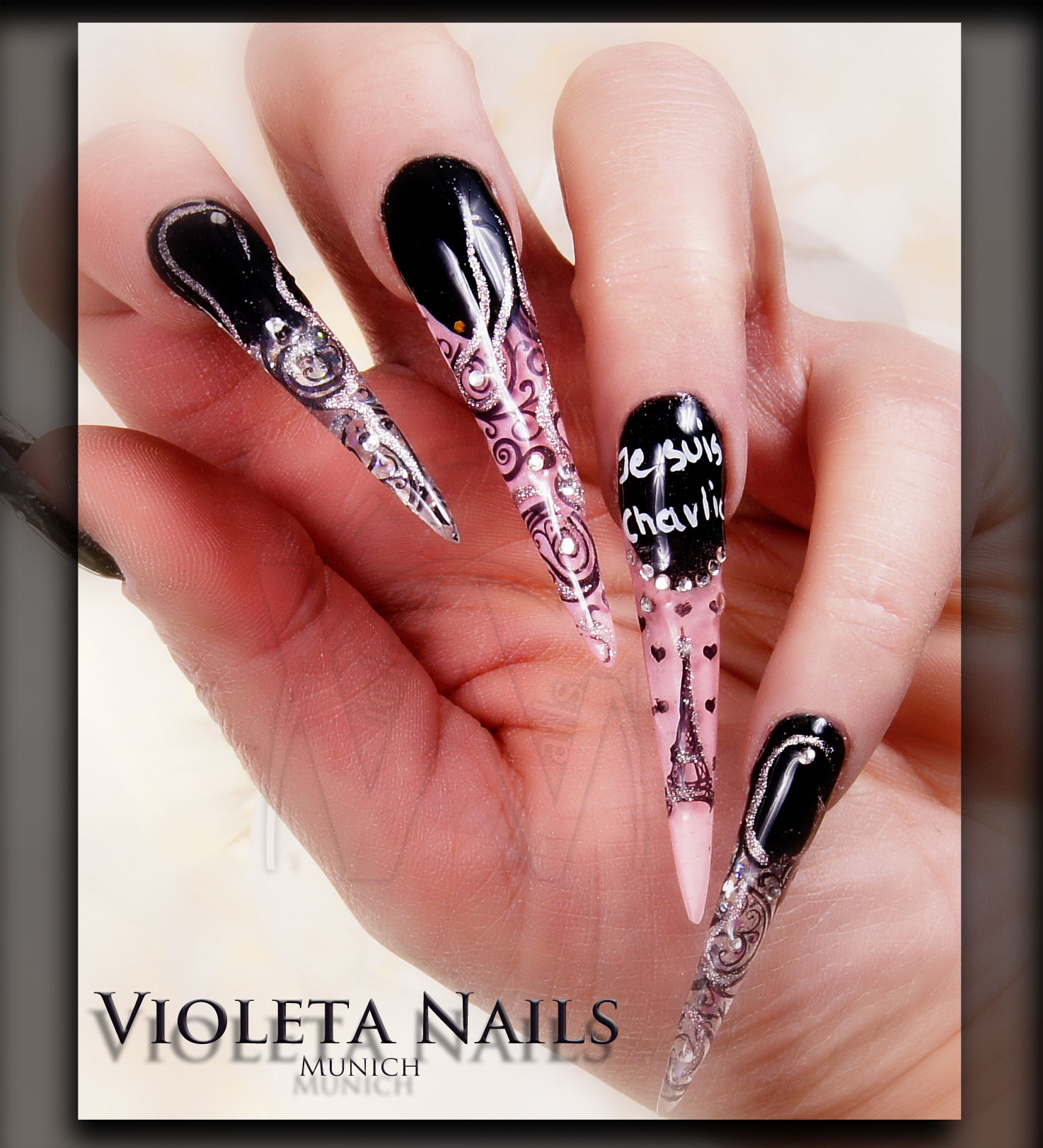 Stiletto nails acrylic and gel nail designs top 10 these stiletto nail designs by violeta nails not only stunning but also adorable prinsesfo Images