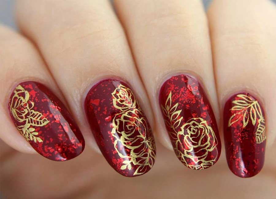 red and gold rose nail art