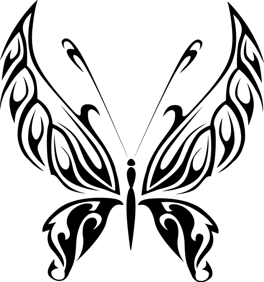 black tribal butterfly design