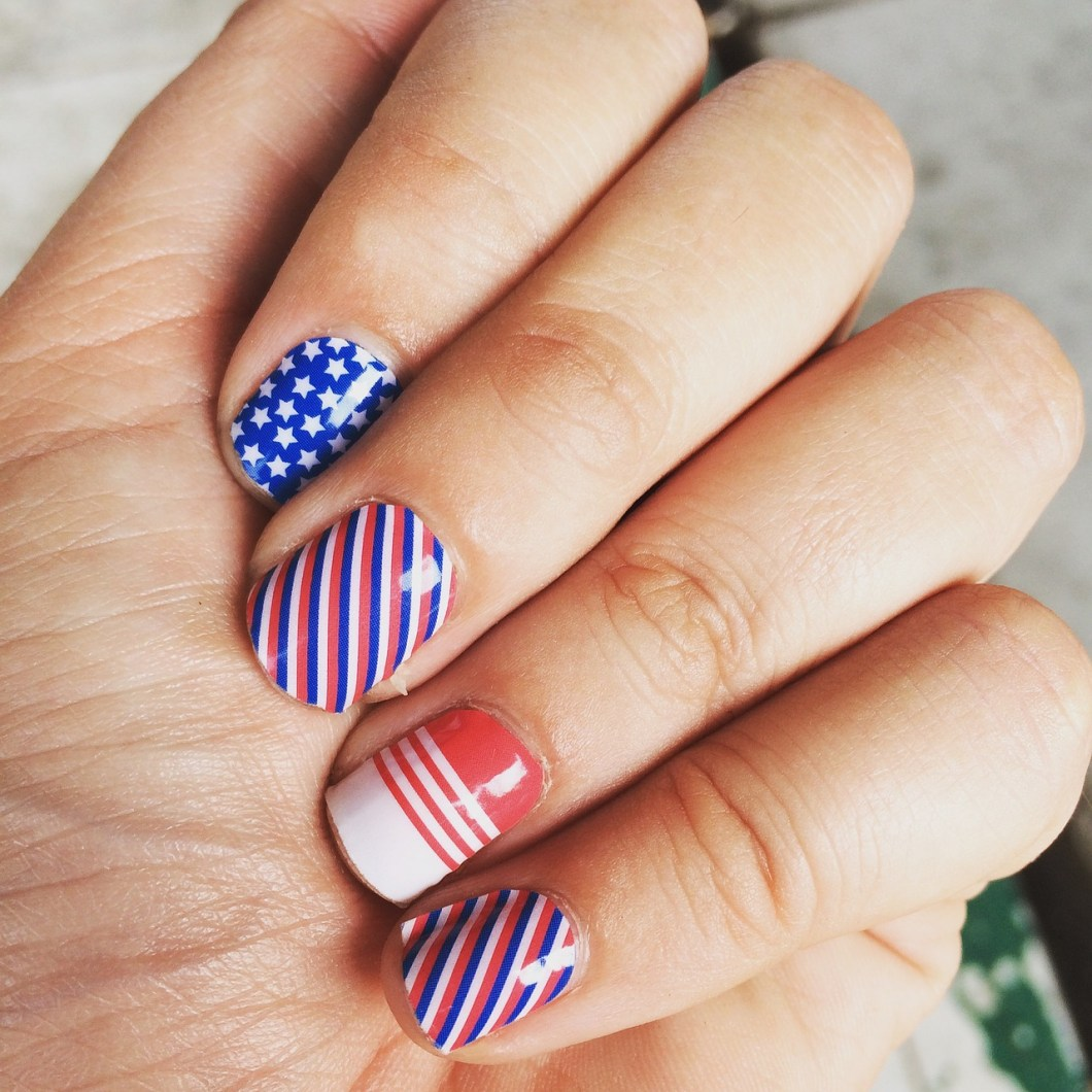 blue and red stipes nail polish