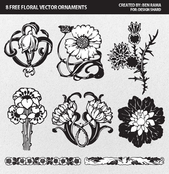 Free floral vector ornaments