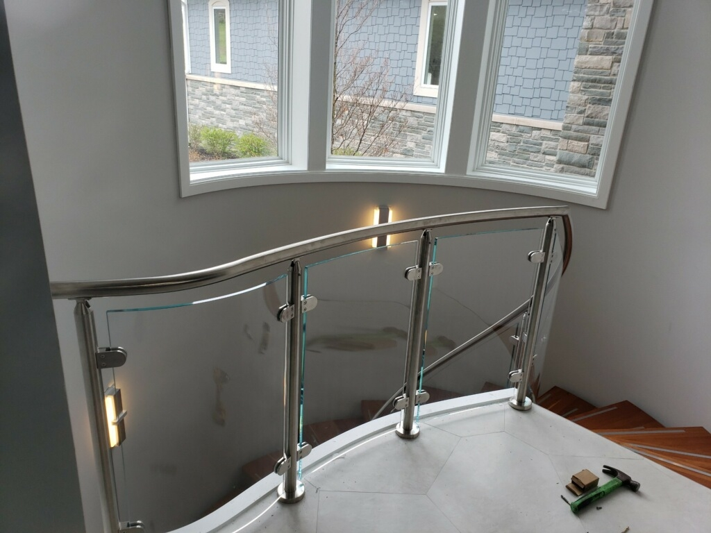 Glass Railing Installation Se Michigan Designs In Glass   Glass Stair Railing Near Me   Interior   Railing Systems   Stainless Steel   Tempered Glass Panels   Iron