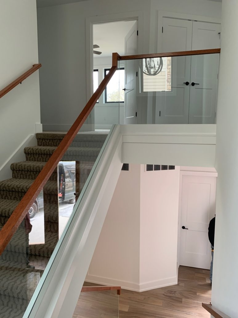 Glass Railing Installation Se Michigan Designs In Glass   Glass Panel Stair Railing   Toughened   Square   Framed Glass   Staircase   Banister