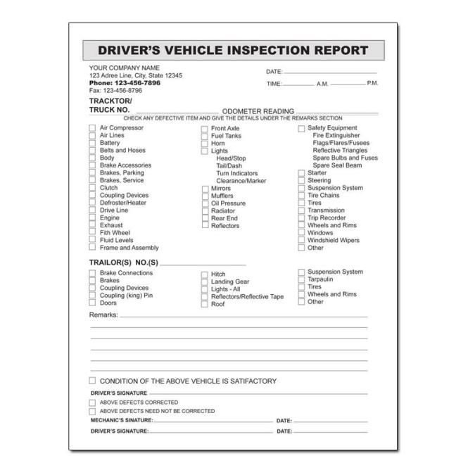 Daily Vehicle Inspection Report Form New 27 Point Pdf Best Ford Multi
