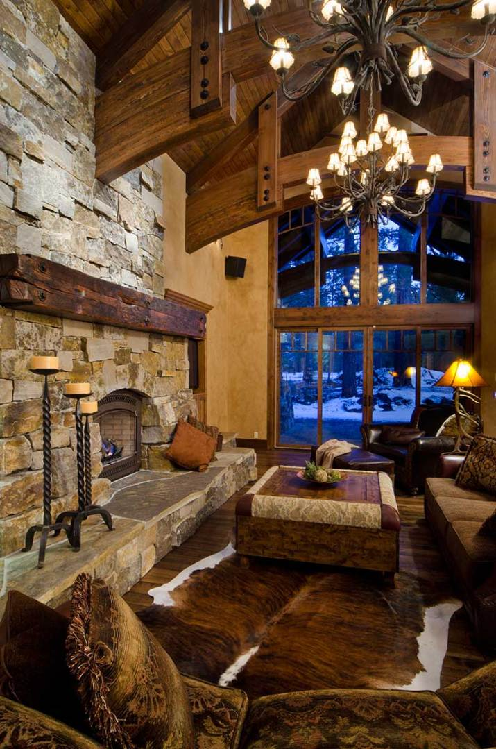 Rustic-living-room-with-brick-fireplace