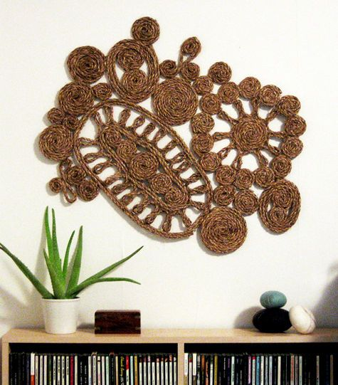 Handwoven Textiles Macrame Woven Wall Art Home Decor above CD Stand Plants