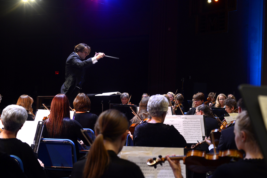 Darko Butorac, 37 conducts the Missoula Symphony Orchestra during it's Red, White and True concert. The symphony is celebrating it's 60th anniversary.