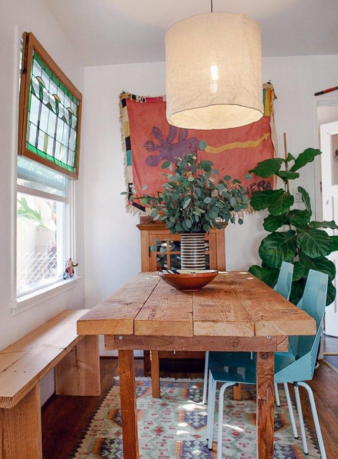 Custom Carpentry & Global Textiles Rule this LA Bungalow