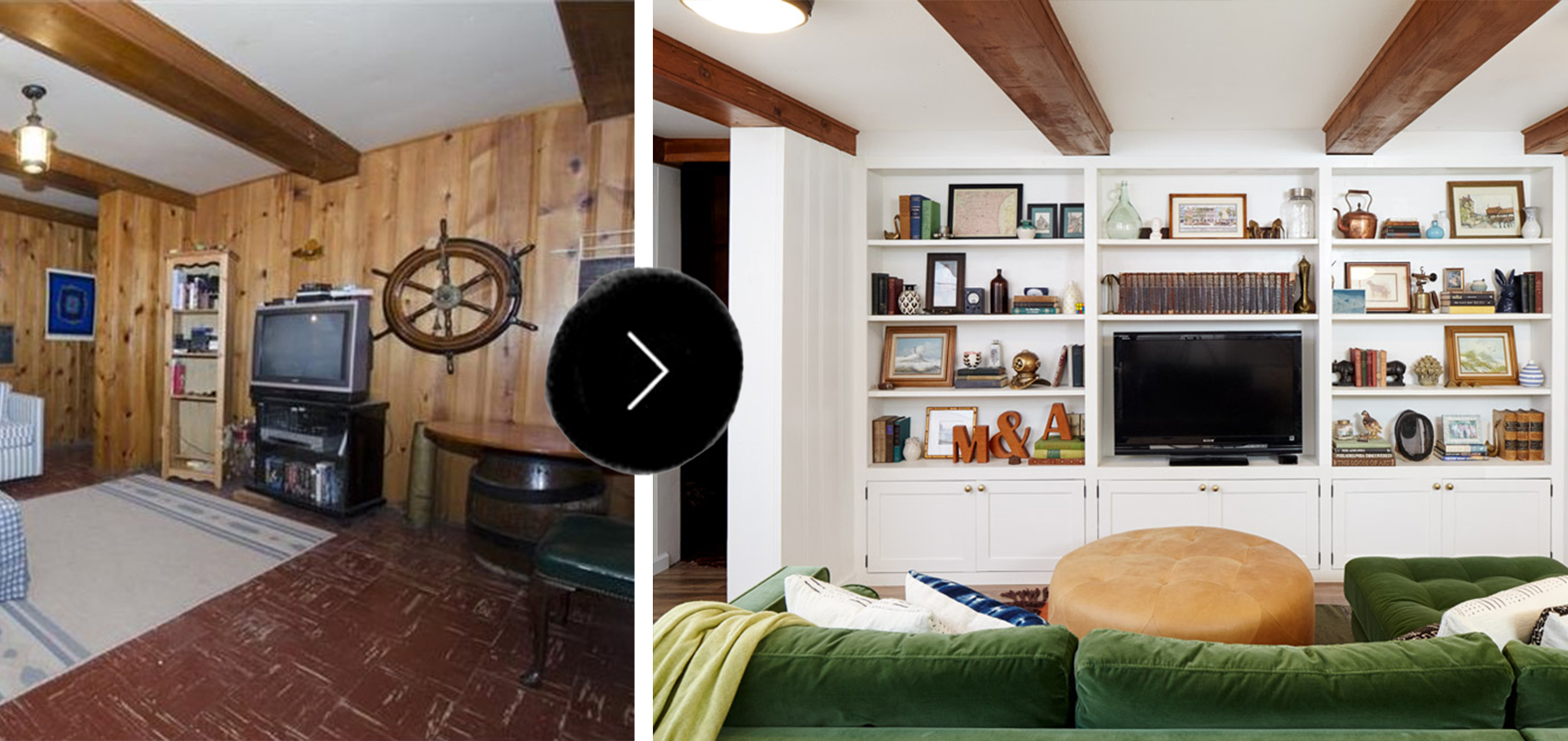 Before After A Dated Basement Family Room Gets A Bright