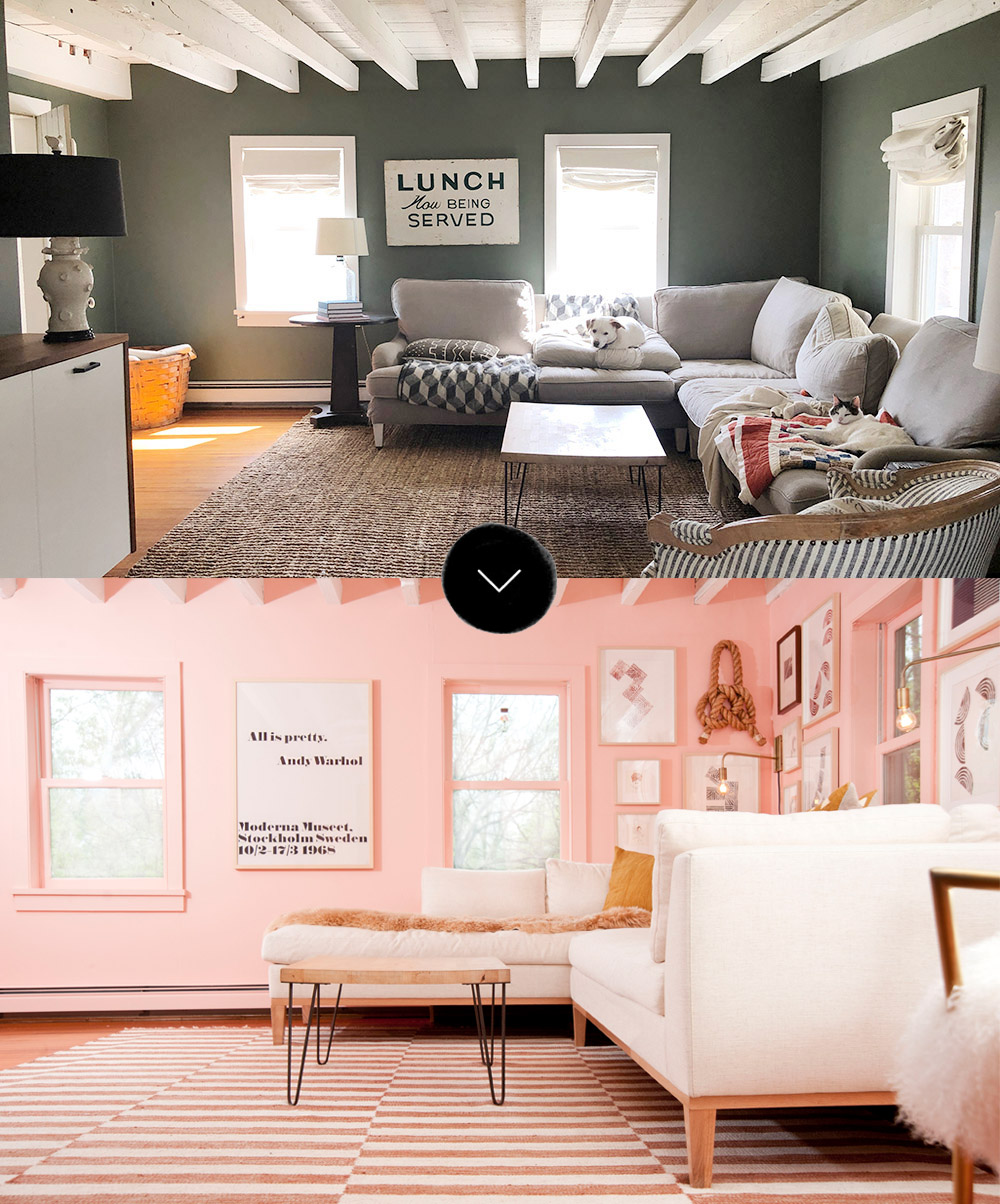 Before After Grace And Julia S Pink Living Room Makeover