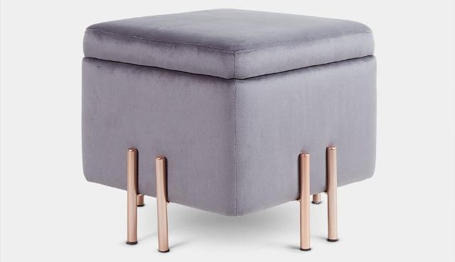 Grey Velvet Storage Stool by Beautify