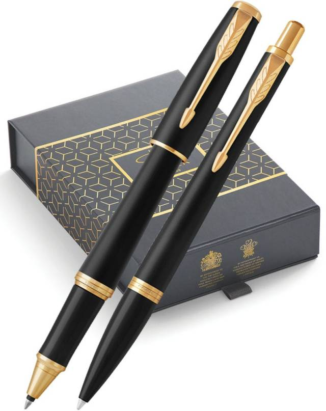 Parker Urban Matt Black Gold Trim Ballpoint & Rollerball Pen Gift Set