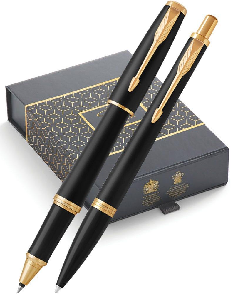 Parker Urban Matt Black Gold Trim Ballpoint & Rollerball Pen Gift Set