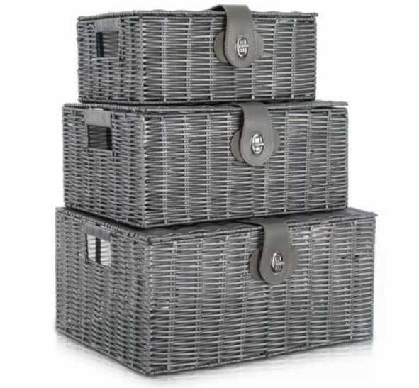Resin Storage Hamper Basket Set of 3 Grey