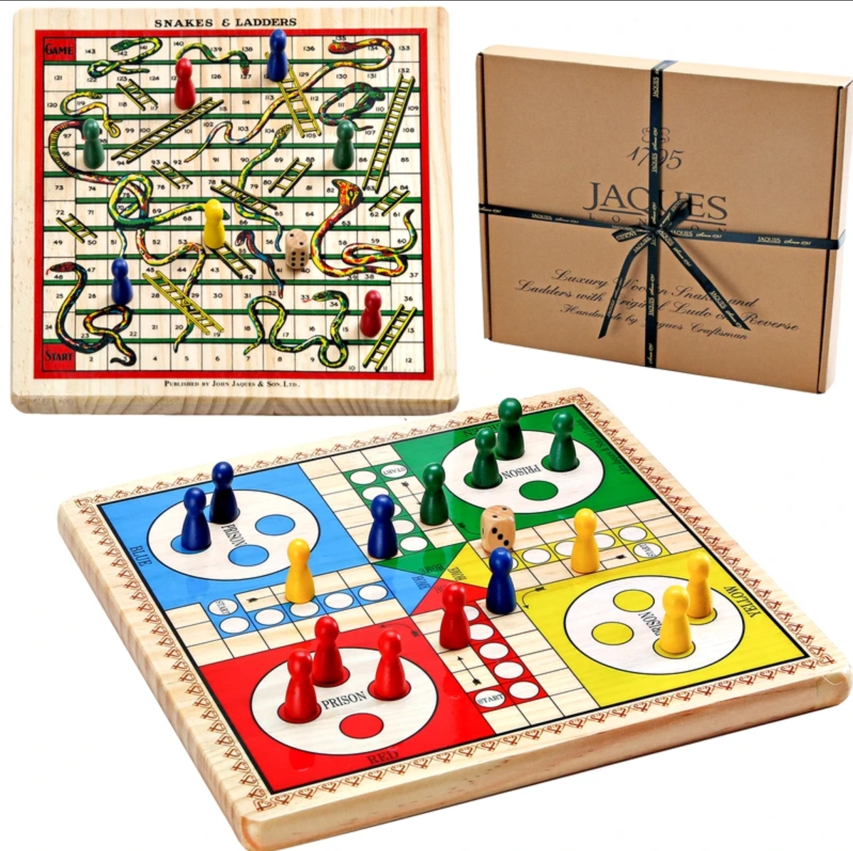 Snakes and Ladders & Ludo on a Reversible Board by Jaques of London