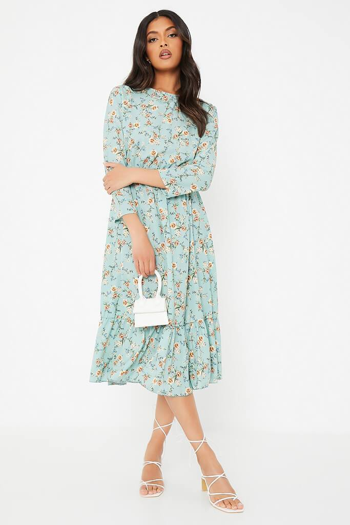 Sage Floral Print Smock Midi Dress