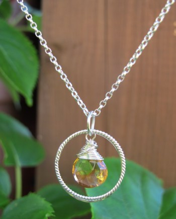 citrine necklace in silver