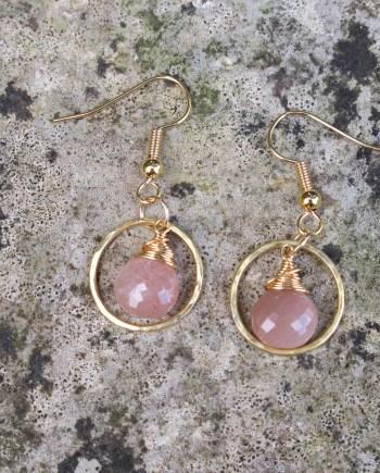 peach moonstone earrings in gold