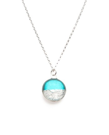 sterling silver necklace in turquoise & silver leaf