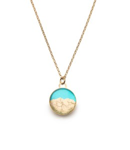 gold necklace in turquoise & gold leaf