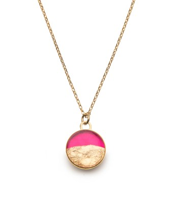 gold necklace in hot pink & gold leaf