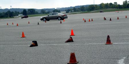 GM test drive detroit cones