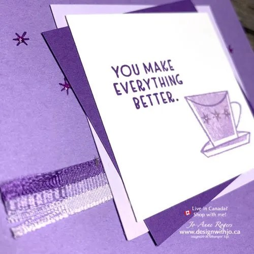 A Fun Ribbon Treatment on this Simple Rubber Stamped Handmade Card