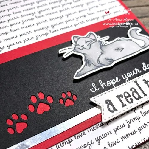 Make a Handmade Cat Card for International Cat Day with Pets Dies and Pampered Pets Stamps and Playful Pets DSP