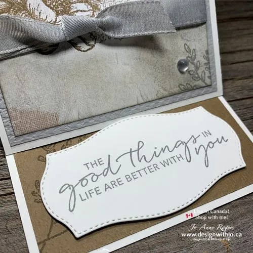 Fancy Fold Rubber Stamped Handmade Card with Tasteful Touches Stampin' Up!