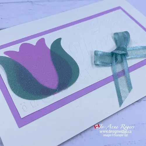 What a Gorgeous Simple Embossed Card Made with Shimmer Vellum and the Tulip Punch