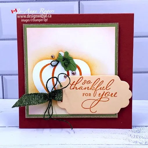 Pretty Handmade Pumpkin Thanksgiving Card
