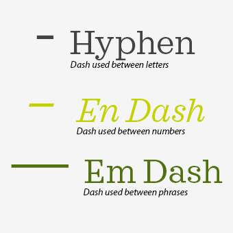 Different Dashes Compared