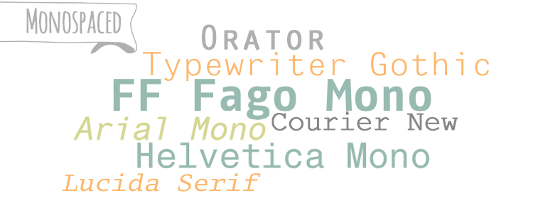 Monospaced typefaces/fonts from the Beginner's Guide to Fonts for Your Blog: How to Choose Font Combinations at www.DesignYourOwnBlog.com